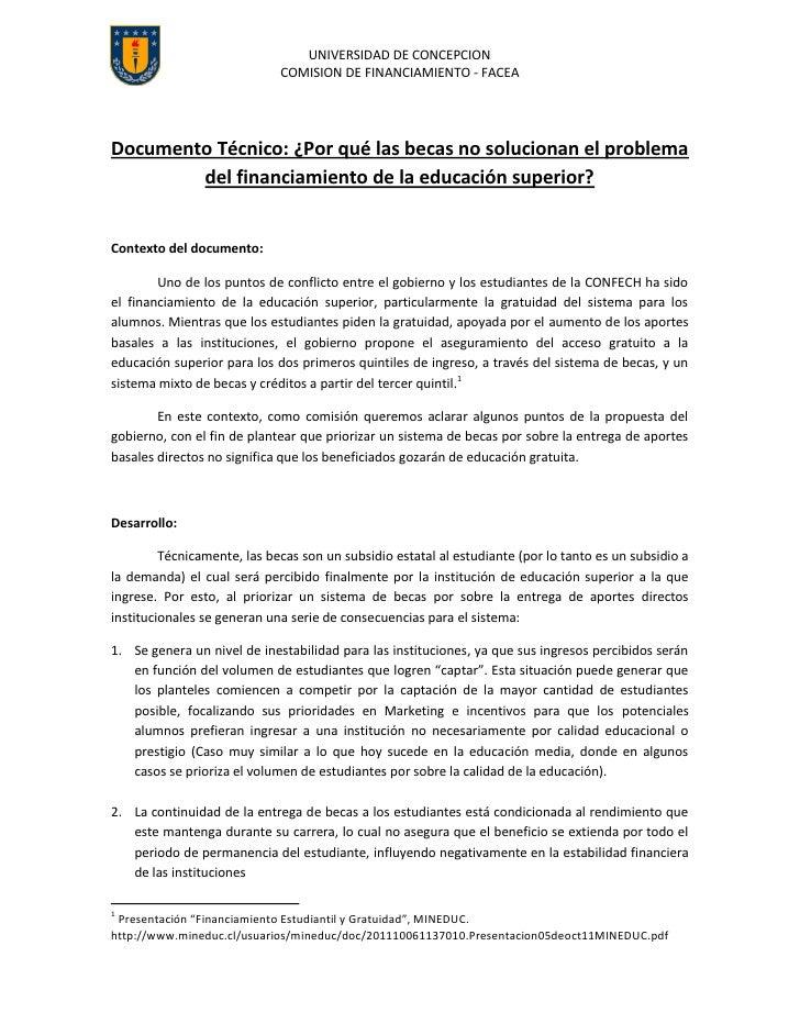 UNIVERSIDAD DE CONCEPCION                             COMISION DE FINANCIAMIENTO - FACEADocumento Técnico: ¿Por qué las be...