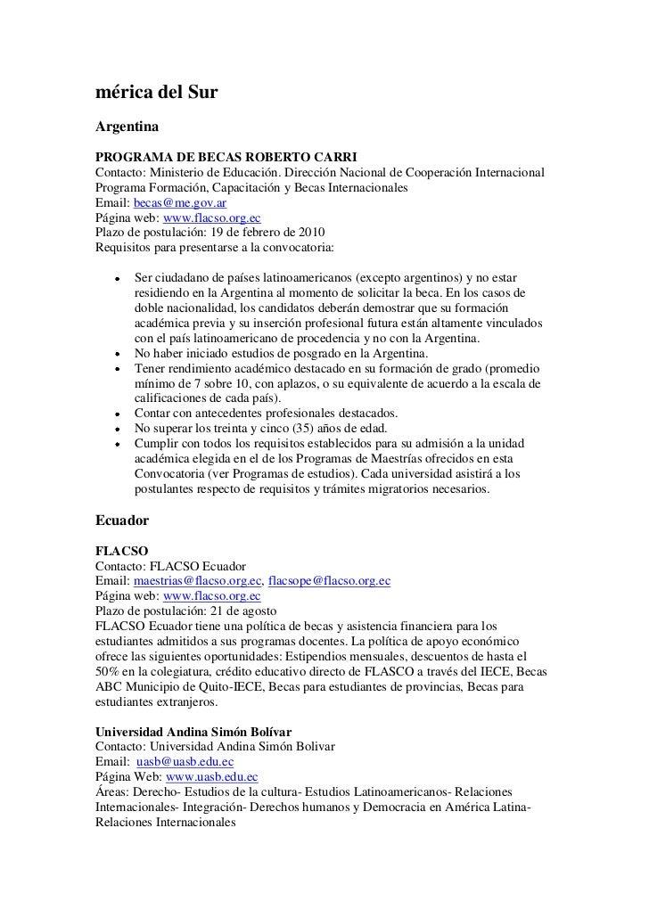 mérica del SurArgentinaPROGRAMA DE BECAS ROBERTO CARRIContacto: Ministerio de Educación. Dirección Nacional de Cooperación...