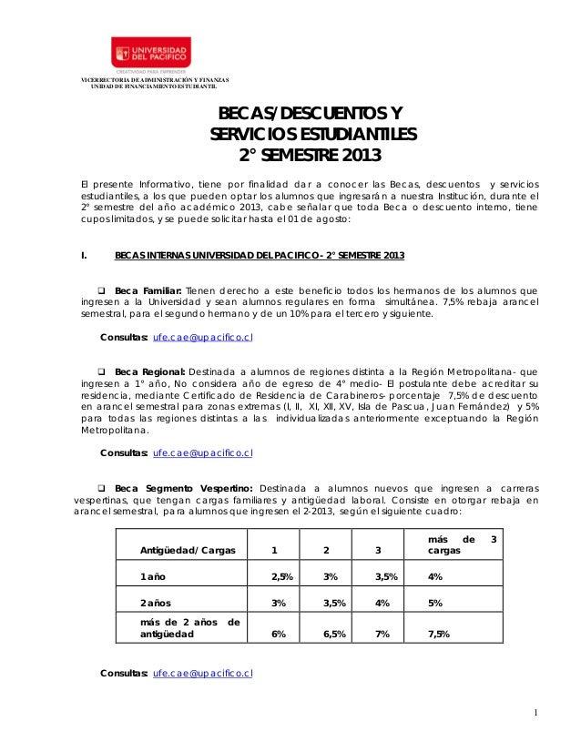 VICERRECTORIA DE ADMINISTRACIÓN Y FINANZASUNIDAD DE FINANCIAMIENTO ESTUDIANTIL1BECAS/DESCUENTOS YSERVICIOS ESTUDIANTILES2°...