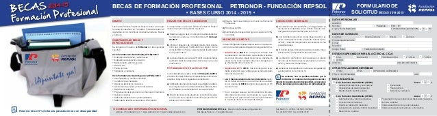 BECAS Formacion Profesional, 2014-15 Reserva de un 5% de becas para alumnos con discapacidad OBJETO Las becas Petronor-Fun...