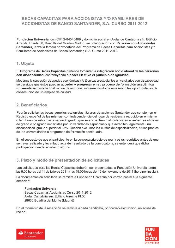 Fundación Universia y Relación con Accionistas Santander presentan la V Convocatoria de Becas Capacitas Slide 2