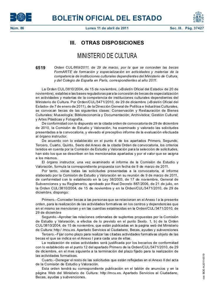 BOLETÍN OFICIAL DEL ESTADONúm. 86                                   Lunes 11 de abril de 2011                             ...