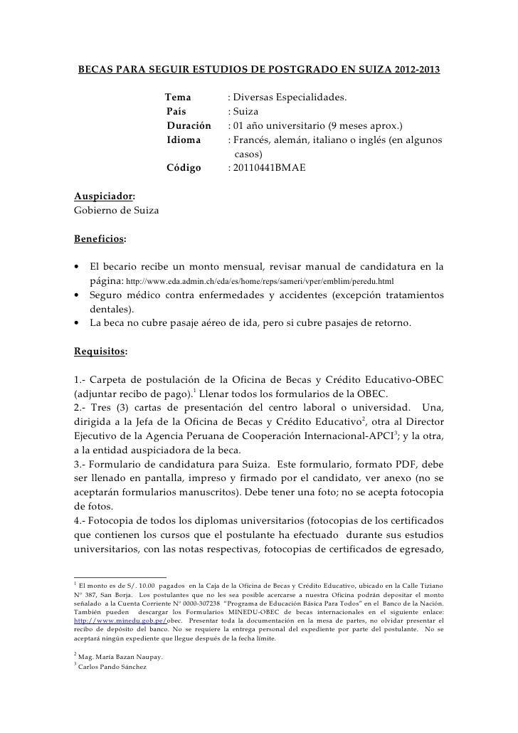 Becas Para Seguir Estudios De Post Grado En Suiza 2012 2013