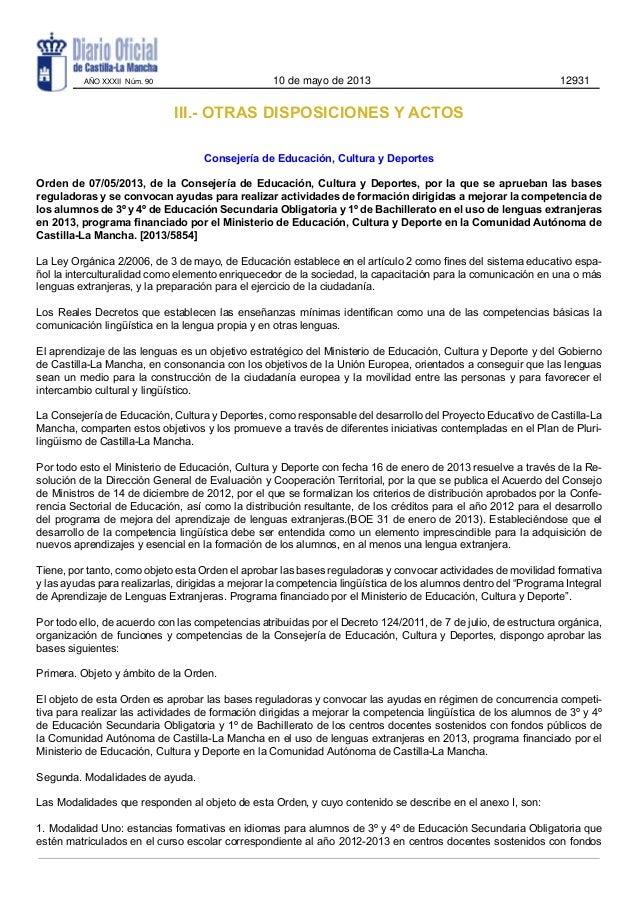 III.- OTRAS DISPOSICIONES Y ACTOSConsejería de Educación, Cultura y DeportesOrden de 07/05/2013, de la Consejería de Educa...