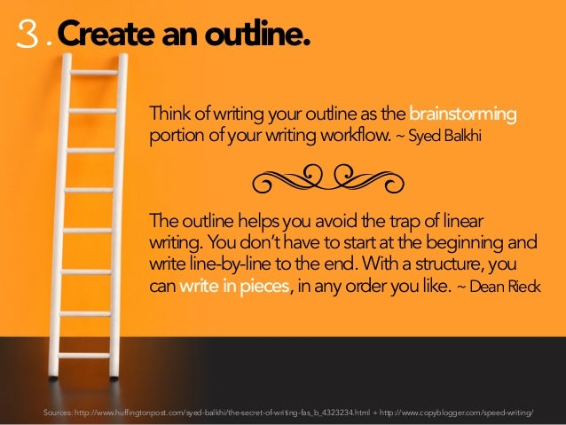 3. Create an outline. Think of writing your outline as the brainstorming portion of your writing workflow. ~ Syed Balkhi  ...
