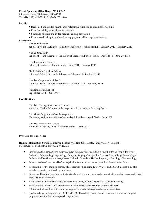 frank spencer resume 2017 - Health Information Management Resume