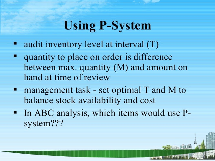 compare and contrast inventory management periodic review systems Table e-1: comparison of pharmaceutical gmps, medical device gmps, iso 9001:2000, and asq quality system to food gmps food gmps iso 9001:2000 asq quality system.