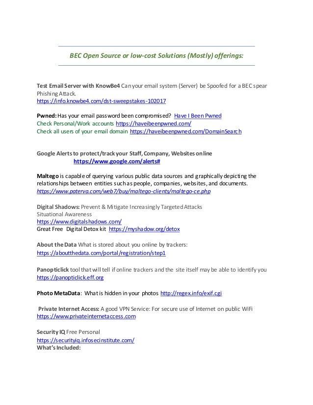 FBI & Secret Service- Business Email Compromise Workshop