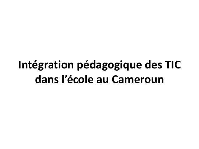 Intégration pédagogique des TIC   dans l'école au Cameroun