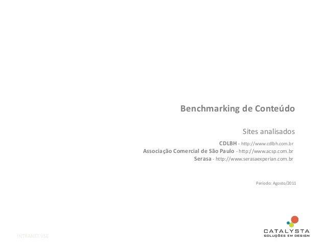 Benchmarking de Conteúdo Sites analisados INTRANET VSE CDLBH - http://www.cdlbh.com.br Associação Comercial de São Paulo -...