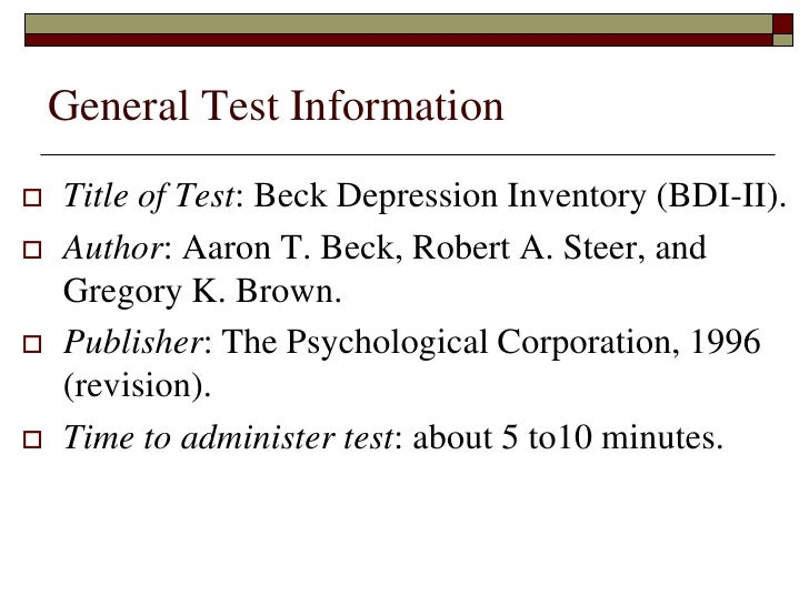 beck depression inventory questions
