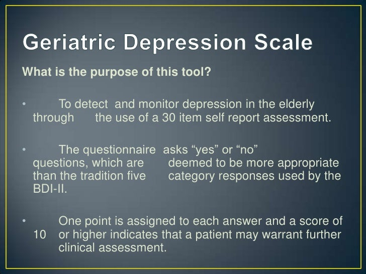 Beck Depression Inventory Geriatric Scale