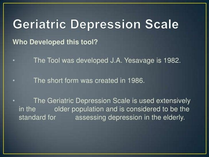Beck Depression Inventory Geriatric Depression Scale