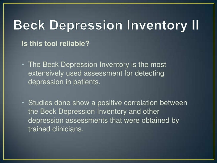 beck depression inventory thesis The beck depression inventory-ii (bdi-ii) is the most widely used instrument for detecting depression it is a brief, criteria-referenced assessment for measuring depression severity beck, becks, bdi, beck depression inventory, depression, bdi-ii, bdi-2.