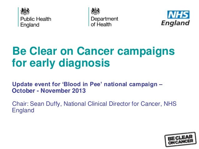 Be Clear on Cancer campaigns for early diagnosis Update event for 'Blood in Pee' national campaign – October - November 20...