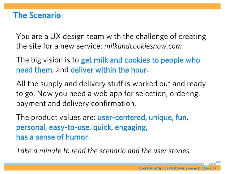 The Scenario  You are a UX design team with the challenge of creating the site for a new service: milkandcookiesnow.com Th...