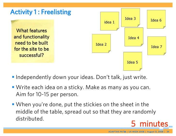 Activity 1 : Freelisting                                                         Idea 3                Idea 6             ...