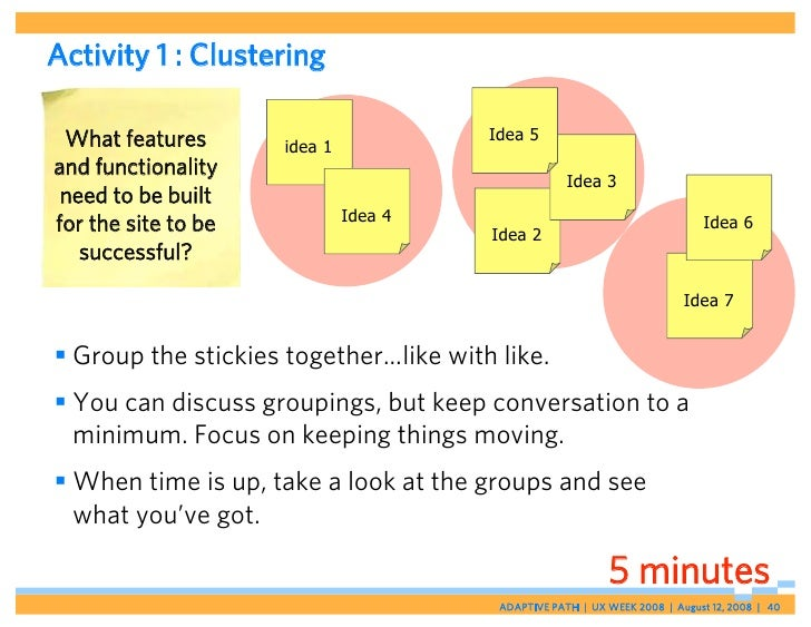 Activity 1 : Clustering   What features                         Idea 5                      idea 1 and functionality      ...