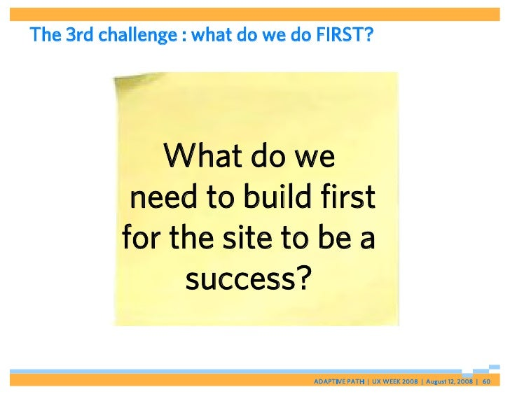 The 3rd challenge : what do we do FIRST?                  What do we            need to build first           for the site...