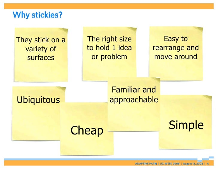 Why stickies?  They stick on a     The right size                 Easy to   variety of        to hold 1 idea              ...