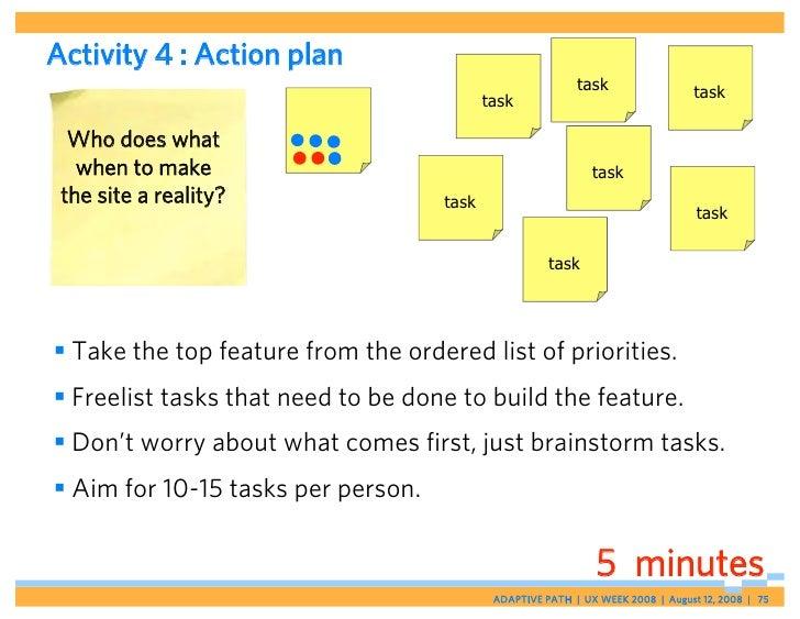 Activity 4 : Action plan                                                            task                  task            ...