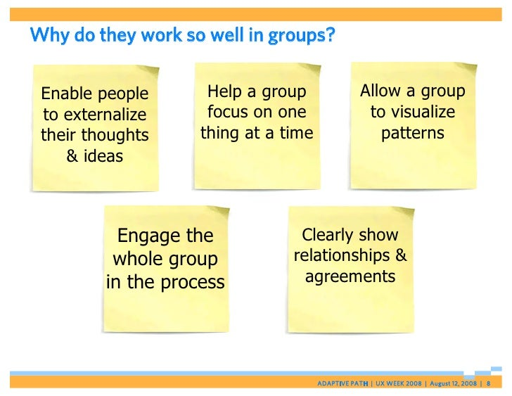 Why do they work so well in groups?   Enable people       Help a group                 Allow a group  to externalize      ...