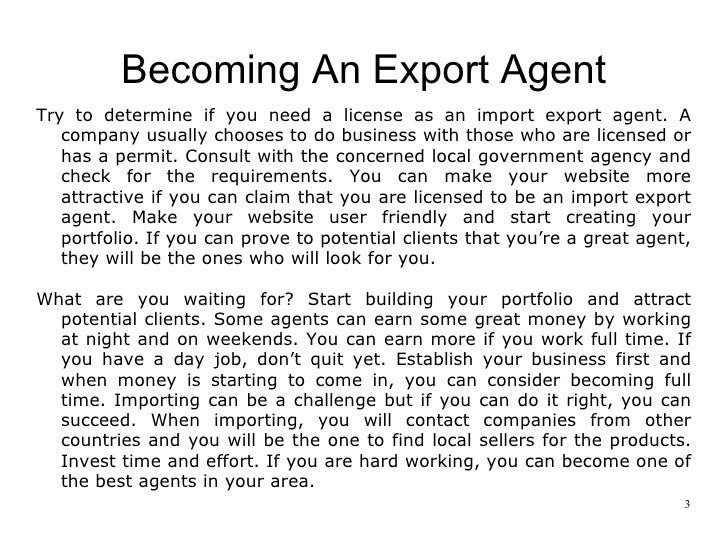 how to become a successful export agent