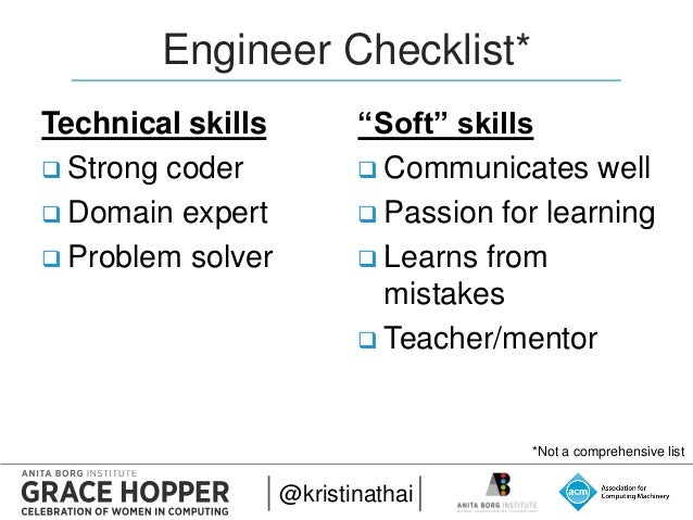 @kristinathai 2015 Engineer Checklist* Technical Skills  Strong Coder   Domain Expert  Problem Solver U201c ...