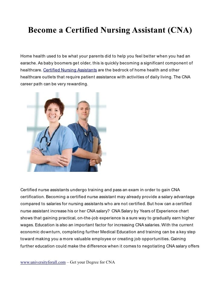 Become A Certified Nursing Assistant Cna