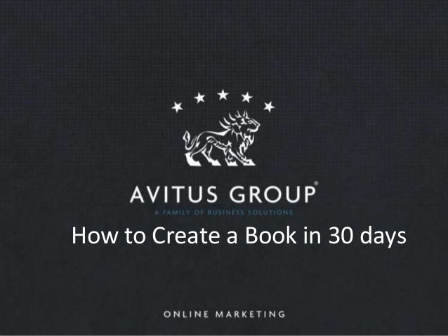 How to Create a Book in 30 days