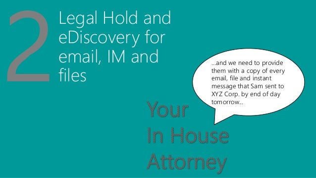 Legal Hold and eDiscovery for email, IM and files …and we need to provide them with a copy of every email, file and instan...