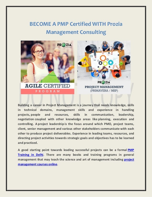 Become A Pmp Certified With Prozia Management Consulting