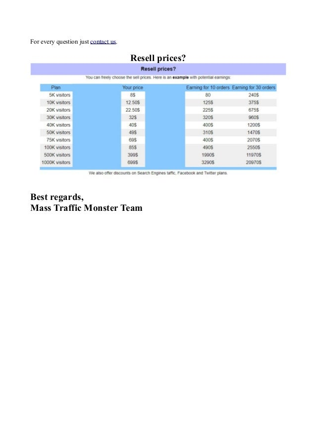 Become a reseller with mass traffic monster software Slide 2