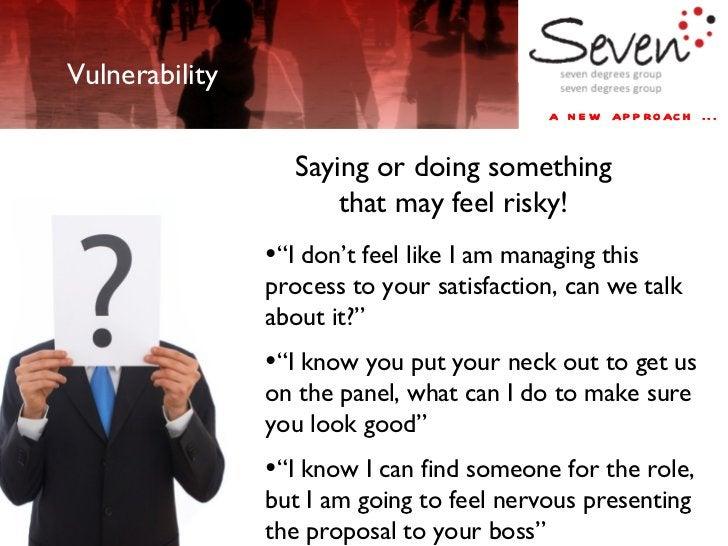 "a new approach ... Vulnerability Saying or doing something that may feel risky! <ul><li>"" I don't feel like I am managing ..."
