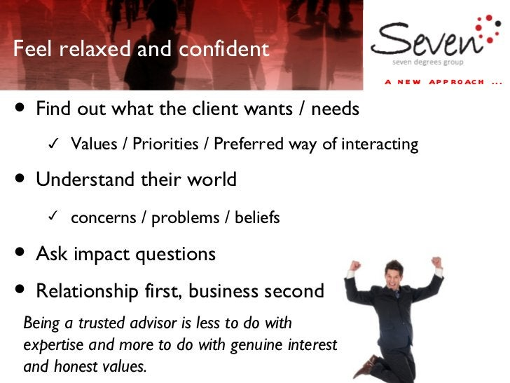Feel relaxed and confident <ul><li>Find out what the client wants / needs </li></ul><ul><ul><ul><li>Values / Priorities / ...