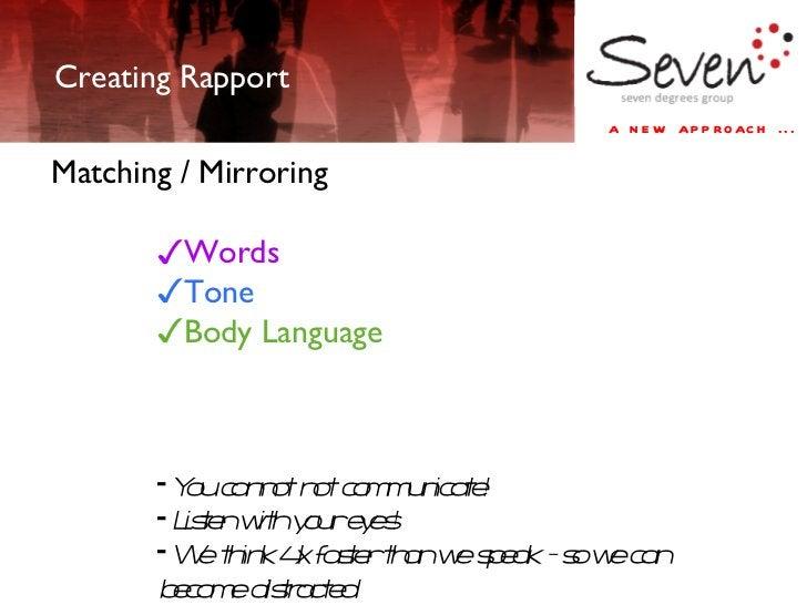 Creating Rapport <ul><li>Matching / Mirroring  </li></ul><ul><ul><ul><ul><ul><li>Words </li></ul></ul></ul></ul></ul><ul><...