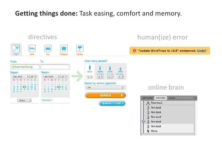 Task progression: Satisfies and serves user's goals.<br />indicators<br /> engagement<br />orientation<br />