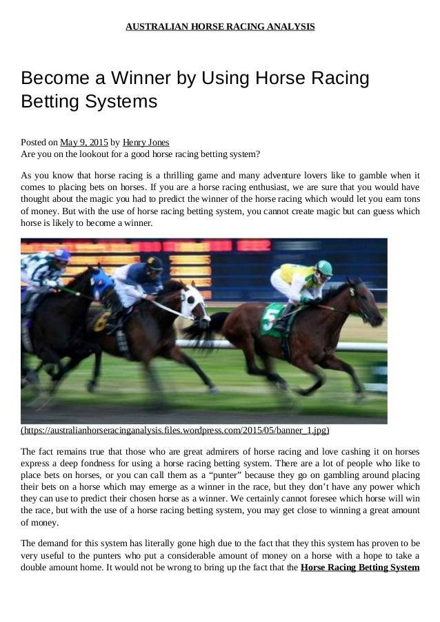 Horse betting systems ipl betting online 2021