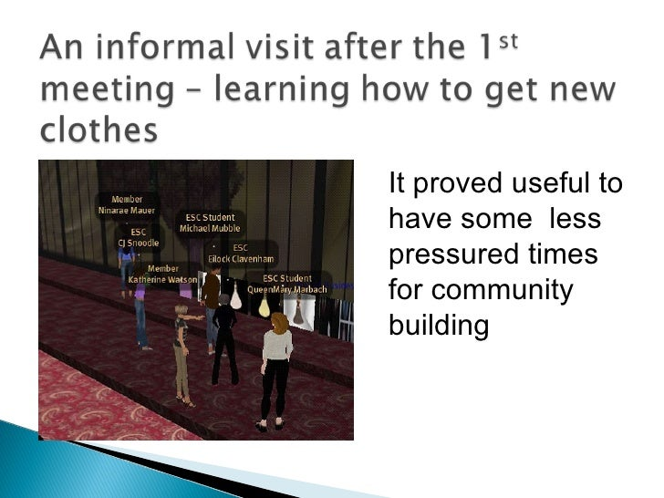 It proved useful to have some  less pressured times for community building