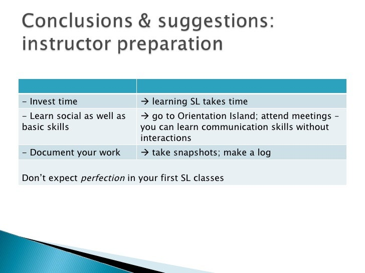 - Invest time    learning SL takes time - Learn social as well as basic skills    go to Orientation Island; attend meeti...