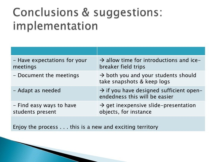 - Have expectations for your meetings    allow time for introductions and ice-breaker field trips - Document the meetings...