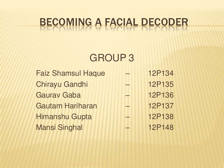 becoming a facial decoder Keywords: facial mimicry emotional contagion emotion recognition 1  introduction  to be constructed for which the decoded affect and the displayed .