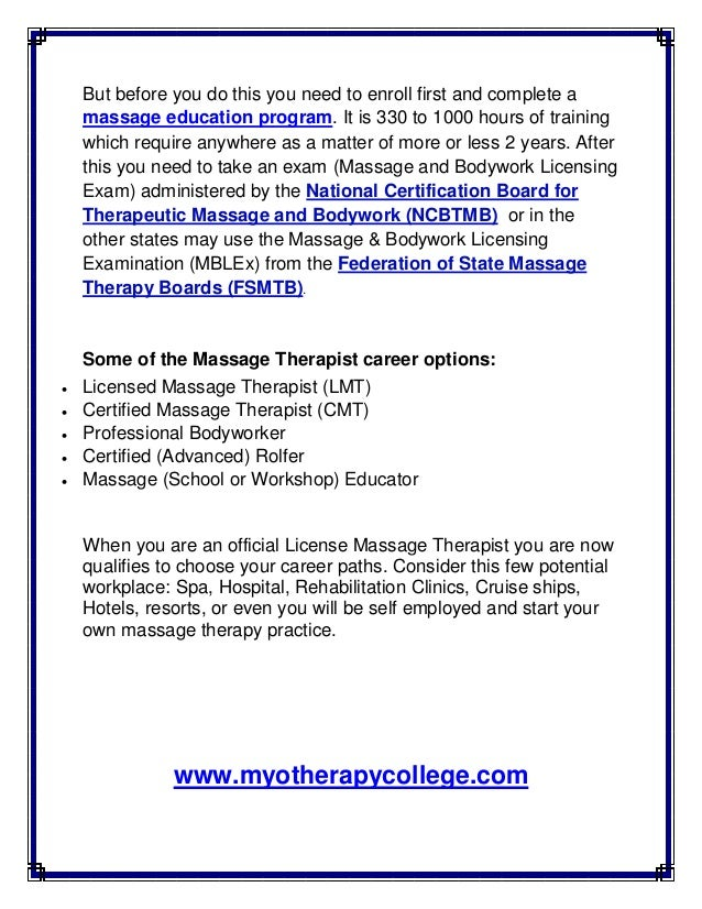 Becoming a license massage therapist facts