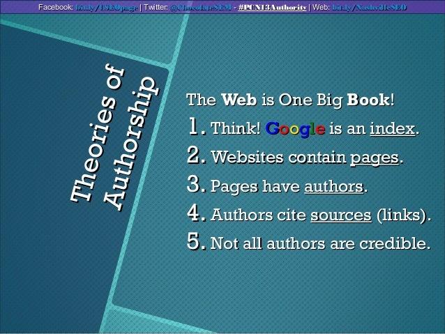 TheoriesofTheoriesofAuthorshipAuthorshipTheThe WebWeb is One Bigis One Big BookBook!!1.1. Think!Think! GGooooggllee is ani...