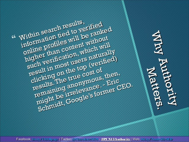 WhyAuthorityWhyAuthorityMatters.Matters. Within search results,Within search results,information tied toinformation tied ...