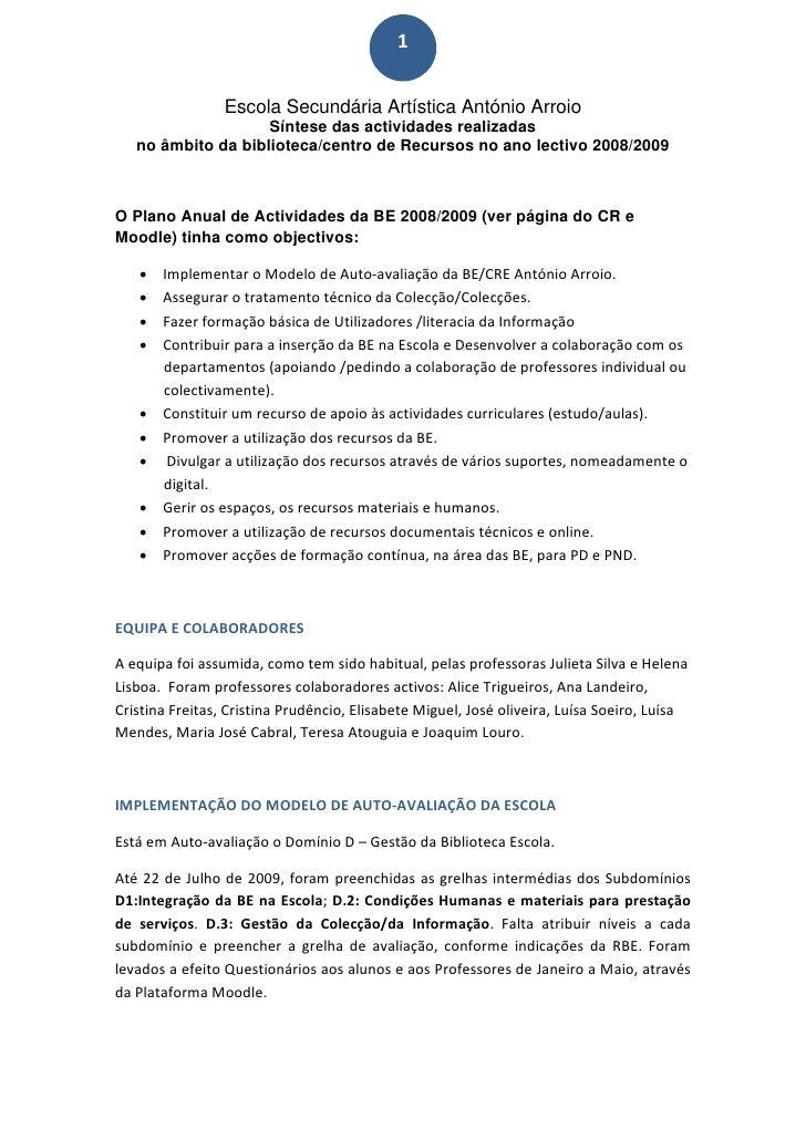1                     Escola Secundária Artística António Arroio                      Síntese das actividades realizadas ...