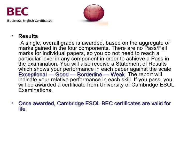 Cambridge English Business Certificates BEC Vantage ...
