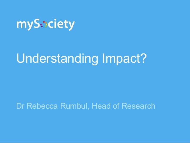 Understanding Impact? Dr Rebecca Rumbul, Head of Research