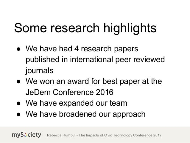 TICTeC 2017: Understanding impact: the year in mySociety research (Rebecca Rumbul, mySociety) Slide 3