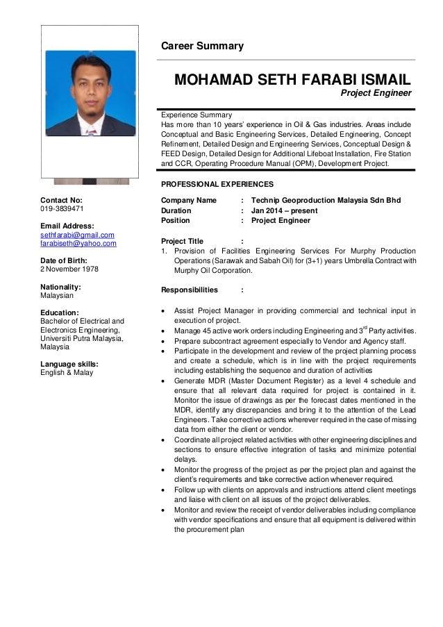 Mohamad Seth Farabi Resume